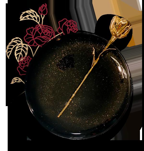24k Golden Rose on a plate
